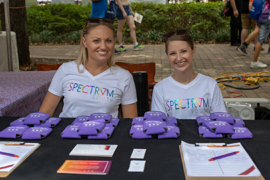 Kelsey and Megan of Spectrum South at Houston Pride