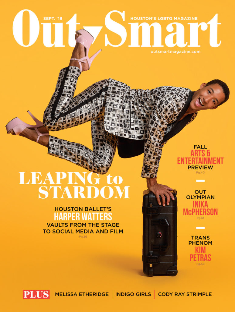 Harper Watters, openly gay ballet dancer and person of color on the cover of Houston's Out Smart magazine