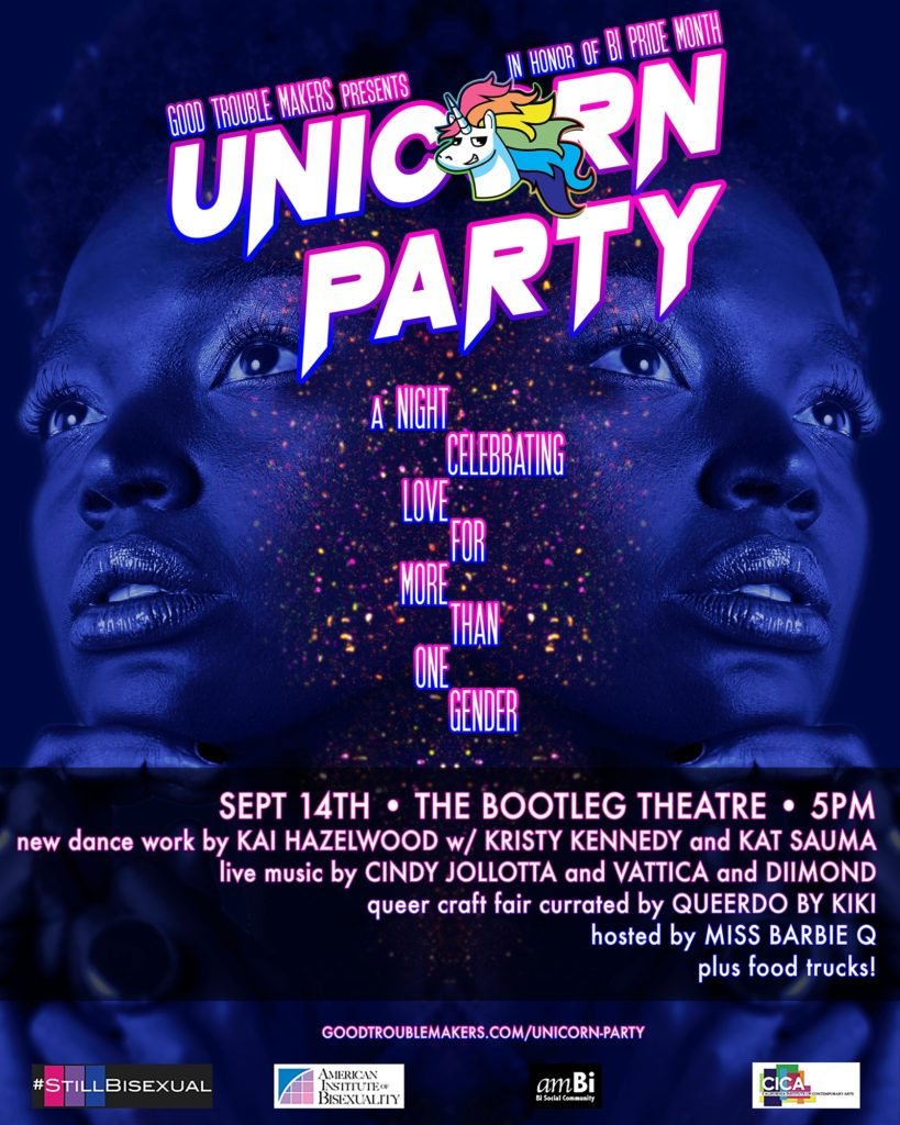 Unicorn pARTy flyer, an event focused on promoting bi visibility