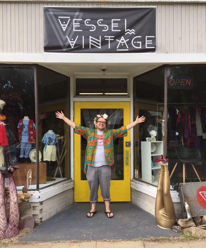 Stevens-Jones in front of their vintage store in Shreveport