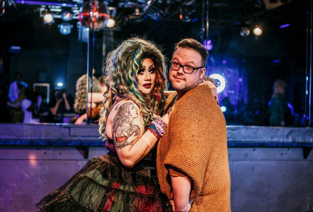 Stevens-Jones with a drag queen in Shreveport, Louisiana